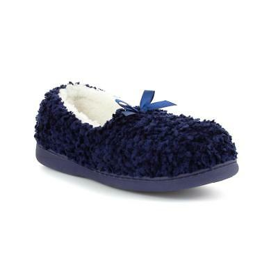 Zone - Womens Navy Moccasin Slipper with Bow - Sizes 3,4,5,6,7,8