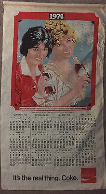 Vtg Coca Cola Linen Cloth Calendar Towel 1974 New Old Stock Never Used