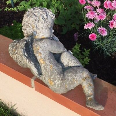 Delicious VTG French ASLEEP Winged CHERUB LOVE GOD Stone Garden STATUE Weathered