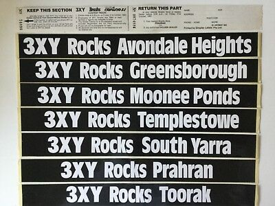 Melbourne Radio Station 3XY Rocks your suburb Stickers