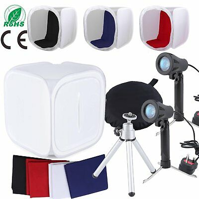 90x 90cm Photo Studio Soft Box Shooting Tent Cube 100W Light Tripod 4 Backdrops
