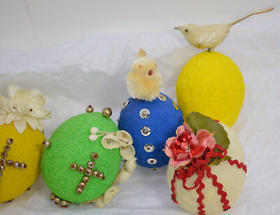12 Vintage Styrofoam Easter Eggs Decorated with Sequins, Bead, Religious, Birds