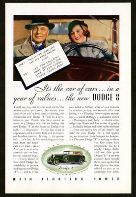 1933 New DODGE 8 Vintage Original Print AD Floating Power couple in car art USA