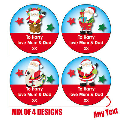 24 x Personalised Christmas Santa Stickers Gift Wrapping Tag MIX of 4 Design 206
