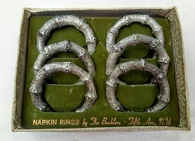 The Buckler's 5th Avenue NY 1950's   6 Silver Tone Faux Bamboo Napkin Rings