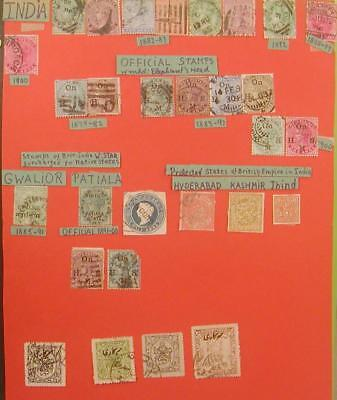 LATE 1800's-1900's LOT OF 28 POSTAGE STAMPS-INDIA BRITISH STAR-ELEPHANT HEAD