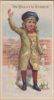 Victorian Trade Card-Muzzy's Starch-Elkhart, IN-Boy in Snowball Fight