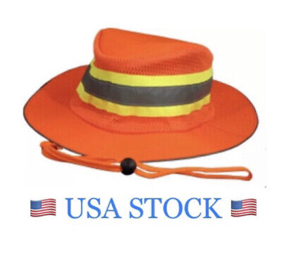 Safety Booney Boonie Orange Hat, Hi Viz Reflective Tape, Hunting Fishing Work