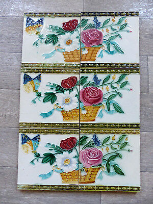 6 SUPERB ART NOUVEAU CERAMIC MAJOLICA TILES Wwith BUTTERFLY ( n2 )