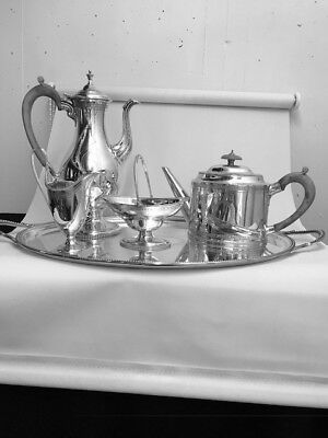 SOLID SILVER 5 PIECE TEA & COFFEE SET - LONDON - 1969 by C J VANDER LTD