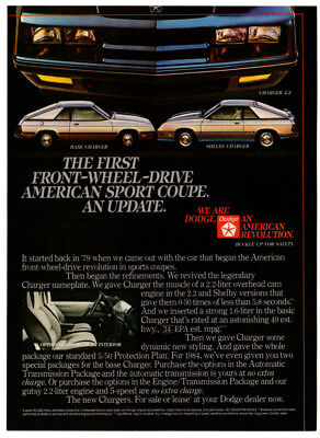 1984 DODGE Charger 2.2 Vintage Original Print AD - Base Shelby car photo English
