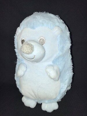 """BABY HEDGEHOG First & Main 9"""" Baby Boy Blue Plush toy Rattle Soft Toy EUC Clean!"""