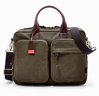 Fossil Men's Defender Waxed Canvas & Leather Work Bag MBG9089300 NWT