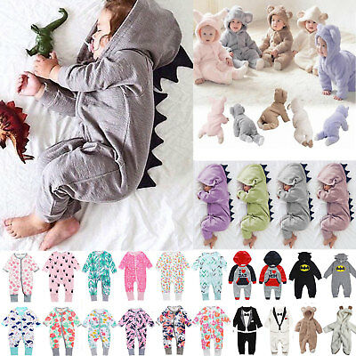 Newborn Infant Baby Boy Girl Hooded Romper Jumpsuit Clothes Outfit Long Sleeve