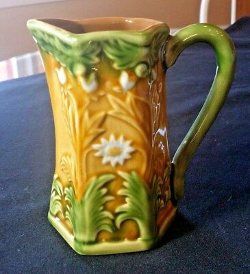 Very Decorative  MAJOLICA PITCHER, Greens and Browns