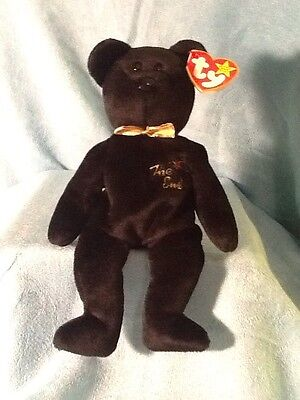 TY Beanie Baby with Tags - The End Black Bear - 1999 - PE - Flat Tush Tag