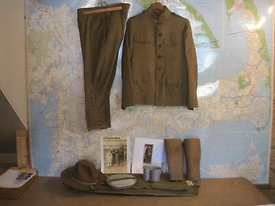 WWI Uniform Hat Cap Blanket Mess Kit Leggings Photos 78th Div New Jersey 312 Inf