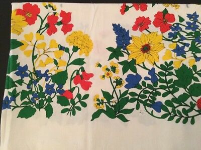Vintage Printed Tablecloth - Poppies,Mums Carnations