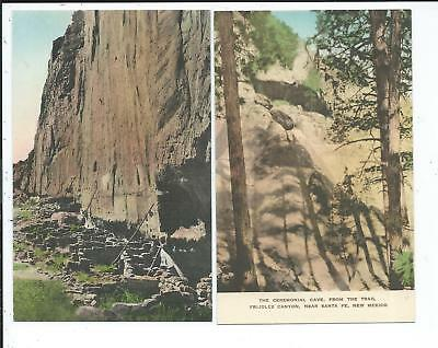 5 Hand Colored Postcards Frijoles Canyon Santa Fe NM New Mexico