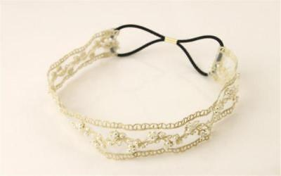 Simulated Pearl Beads Flower Lace Cloth Headbands Hair Bands Women Hair Jewelry