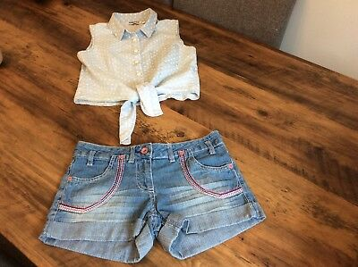 Girls Clothes Bundle Blue Denim Shorts NEW LOOK Blue Cropped Top Age 10-11-12 Yr