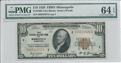 1929 $10 Minneapolis FRBN Note PMG 64 EPQ Fr. 1860-I