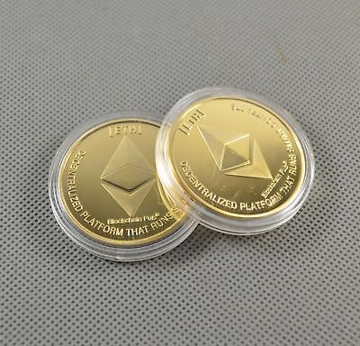 2pcs Gold Plated Commemorative Collectible Golden Iron ETH Ethereum Miner Coin