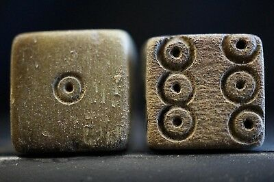Pair of 2 Ancient Roman Hand-carved DICE, circa 250-300 AD. Legion Soldiers Chip