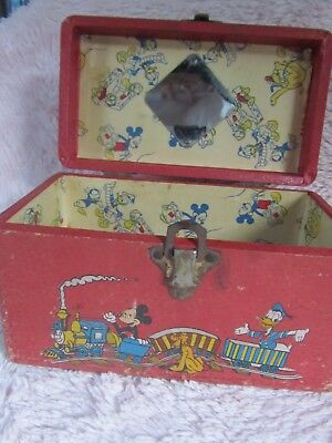 WALT Disney by NEEVEL Mickey Mouse ANTIQUE 1940s TRAIN CASE toy box lunch donald