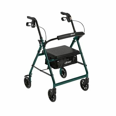 Drive Medical Rollator Removable Padded Seat Back Support Fold Up Walker Green!