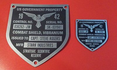 Captain America Tfa Shield Large Data Plate Plaque Tag Prop (Steel Finish)
