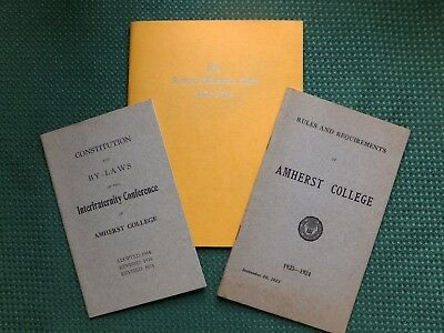 1924 Amherst College booklets (3) - Rules, Bylaws and Woman's Club