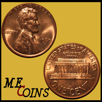 1960-D LD Lincoln Memorial Cent Penny , GEM BU Red , US Coin , Free Shipping!