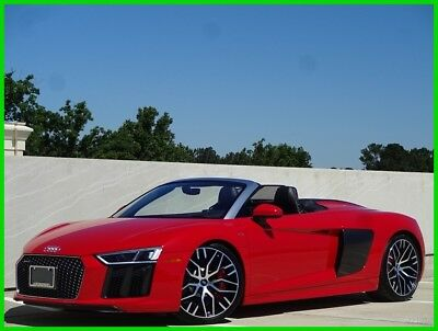 Audi R8 AUDI R8 V10 RED CONVERTIBLE CARBON FIBER LEATHER GPS BACKUP CAM 2017 AUDI R8 V10 SPYDER QUATTRO S TRONIC RED ONE OWNER CLEAN CARFAX WE FINANCE