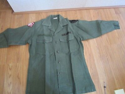 Vintage US Army Sateen Shirt With Patches- Size 15 1/2 x 31