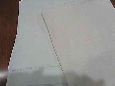 Set of 2 Antique 100% Linen Damask Very High End Hand Towels