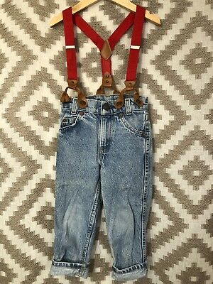 Vintage Orange Tab Little Levi's Childrens Size 4 Blue Jeans Overalls Suspenders