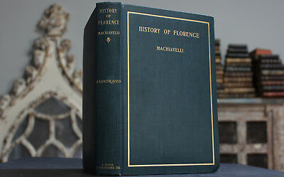Antique Rare Old Book History Of Florence By Machiavelli 1901 Italy Gilt Scarce