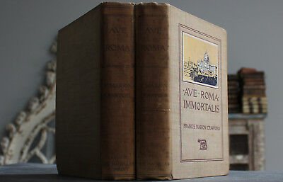 Antique Rare Old 2 Volume Book Set Rome Italy 1898 Gilt Illustrated Scarce