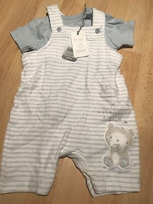 Mothercare Brand New Baby Boy Dungaree Set Blue & White 9-12 Months