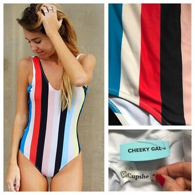 732803dbe35 CUPSHE Cheeky Gal Colorful Stripe Backless One Piece Swimsuit Size S