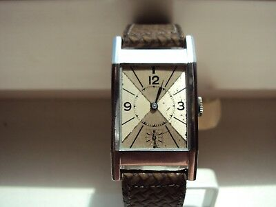 Vintage Men's Art Deco Tank Shape Watch Swiss Made 1930 s.