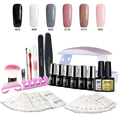 Modelones Set 8Pcs Gel Nail Polish UV Nail Dryer Lamp 6W Top Base Coat Kit Tool