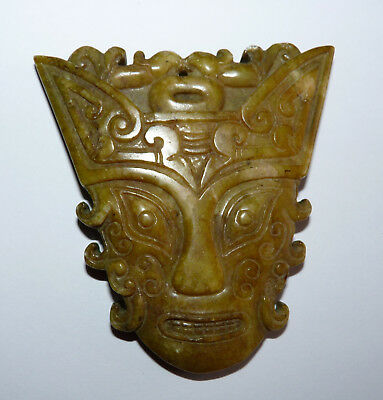 Large Carved Hardstone Chinese Cat / Fox God/ Dragon? Face Pendant.