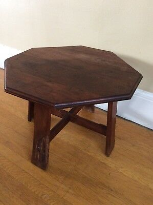 Antique Mission Oak Side Coffee Table Taboret Arts Crafts Inlay Octagonal