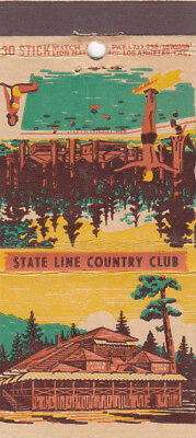 """Vintage Matchbook Cover """"Stateline Country Club"""" Lake Tahoe  Nevada"""