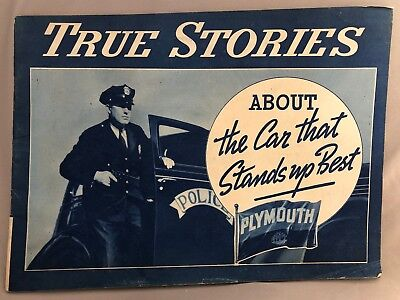 1937 PLYMOUTH True Stories POLICE Automobile ADVERTISING Color Brochure Vintage