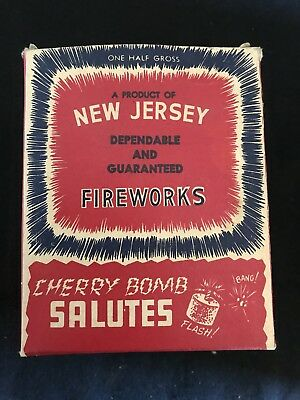 Vintage EMPTY New Jersey Fireworks Cherry Bomb Salutes Half Gross Box Only !