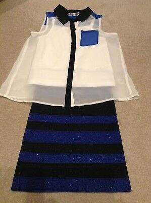 Girls Outfit French Connection Fitted Skirt & Swing Blouse  8 9 10 Yrs Great Con