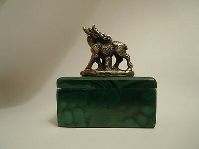 Antique RUSSIAN Malachite BOX  with 84 Silver Elk Figurine as a cardholder